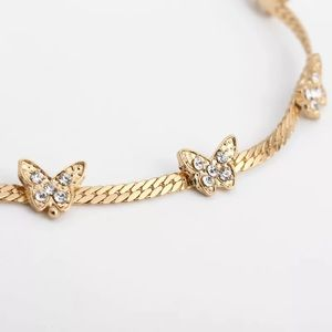 Annajays Boutique Jewelry - DAINTY RHINESTONE BUTTERFLY CHOKER IN GOLD